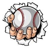 Fondo strappante della mano della palla di baseball illustrazione vettoriale