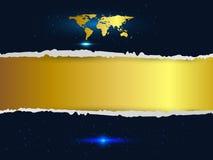Fondo strappato senza cuciture dell'oro e della carta con la mappa di parola e la stella, vettore Fotografia Stock