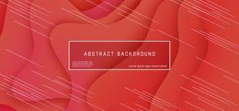 Fondo stratificato pendenza rossa luminosa con la composizione liquida geometrica in forme di onda illustrazione di stock