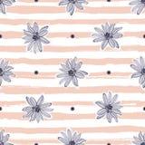 Fondo a strisce d'avanguardia senza cuciture pastello del modello di fiore, camomille disegnate a mano, margherite royalty illustrazione gratis
