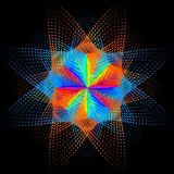 Fondo, struttura, astrazione Il punto di colore una stella o un fiore è isolato su fondo nero illustrazione di stock