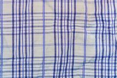 Fondo, struttura di un tessuto grigio a quadretti con le bande blu Immagini Stock Libere da Diritti