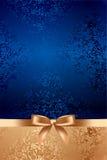 Fondo strutturato blu con l'arco dell'oro Fotografie Stock