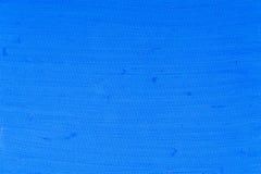 Fondo strutturato blu dipinto a mano della tela Fotografie Stock