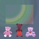 Fondo strutturato con tre orsi svegli della peluche royalty illustrazione gratis