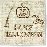Fondo su Halloween con uno schizzo stile zucca Fotografia Stock Libera da Diritti