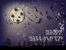 Fondo su un tema Halloween di festa con il cielo scuro, strega Fotografia Stock Libera da Diritti