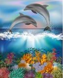 Fondo subacqueo tropicale con i delfini Immagini Stock