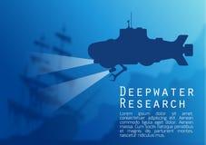 Fondo subacuático borroso con el submarino Fotografía de archivo libre de regalías