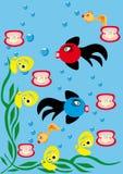 Fondo subacuático con los pequeños pescados Imagenes de archivo