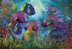 Fondo subacuático con los pescados tropicales Foto de archivo libre de regalías