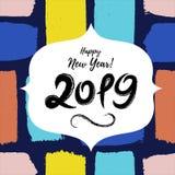 Fondo sucio exhausto lindo de la tarjeta de felicitación de la Feliz Año Nuevo 2019 a mano Bandera de los días de fiesta de los n ilustración del vector