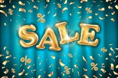 Fondo sulle insegne blu del deposito della tenda, pubblicità, acquisto dei palloni di vendita dell'oro di vettore Logo, logotype, illustrazione vettoriale