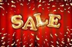 Fondo sulle insegne rosse del deposito della tenda, pubblicità, acquisto dei palloni di vendita dell'oro di vettore Logo, logotyp illustrazione di stock