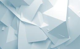 Fondo superficial poligonal caótico azul abstracto del blanco 3d Foto de archivo libre de regalías