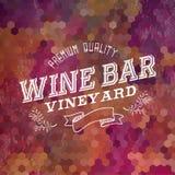 Fondo superior del ejemplo de la etiqueta del vintage del bar de vinos Imagen de archivo libre de regalías