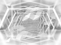 Fondo surreale astratto del tunnel con il modello del poligono 3d Immagini Stock