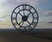 Fondo surrealista abstracto con símbolo del tiempo de reloj Foto de archivo