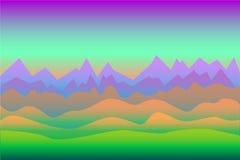 Fondo surrealista del paesaggio con le montagne, con lo spazio per testo Immagini Stock