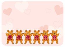Fondo sveglio di colore con Teddy Bears Fotografia Stock Libera da Diritti