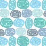 Fondo sveglio disegnato a mano del modello dei gatti Immagini Stock