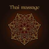 Fondo tailandese di massaggio con la mandala floreale dorata Fotografie Stock
