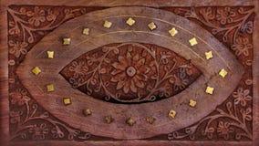 Fondo tallado de madera de la flor Fotografía de archivo