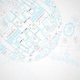 Fondo tecnológico abstracto con el diverso ele tecnológico Foto de archivo