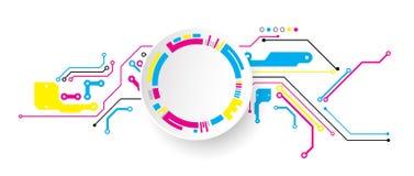 Fondo tecnológico abstracto con los diversos elementos CMYK co ilustración del vector