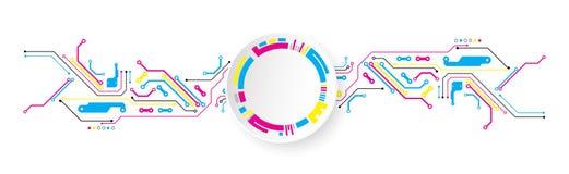 Fondo tecnológico abstracto con los diversos elementos CMYK co stock de ilustración