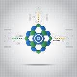Fondo tecnológico abstracto con los diversos elementos tecnológicos Foto de archivo libre de regalías
