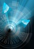 Fondo tecnológico con las flechas azules Imagenes de archivo