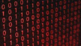 Fondo tecnológico de la interferencia de los datos binarios de Digitaces con código binario Dígitos binarios 1 y 0 en fondo rojo stock de ilustración
