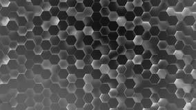 Fondo tecnológico del scifi de la tecnología del hexágono del fondo abstracto del modelo hecho de hexágonos negros con el efecto  metrajes