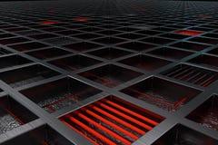 Fondo tecnológico o industrial futurista hecho de la rejilla cepillada del metal con las líneas y los elementos que brillan inten Fotografía de archivo libre de regalías
