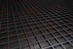 Fondo tecnológico o industrial futurista hecho de la rejilla cepillada del metal con las líneas y los elementos que brillan inten Imágenes de archivo libres de regalías