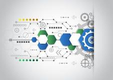 Fondo tecnologico astratto con i vari elementi tecnologici illustrazione di stock
