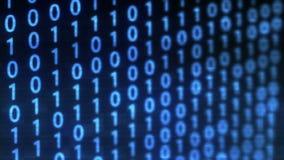 Fondo tecnologico di impulso errato di dati binari di Digital con il codice binario Cifre binarie 1 e 0 su fondo blu illustrazione di stock