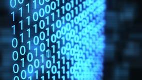Fondo tecnologico di impulso errato di dati binari di Digital con il codice binario Cifre binarie 1 e 0 su fondo blu illustrazione vettoriale