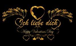 Fondo tedesco di giorno di biglietti di S. Valentino Fotografie Stock