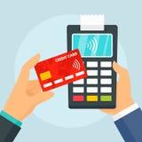 Fondo terminale di concetto di pagamento della carta di credito, stile piano illustrazione vettoriale