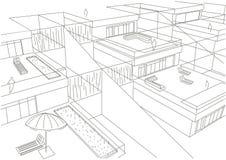 Fondo a terrazze di bianco delle case di schizzo architettonico lineare Fotografia Stock