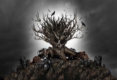 Fondo terrificante dell'albero di Halloween Fotografia Stock Libera da Diritti