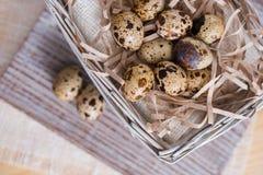 Fondo texturizado de la primavera con los pequeños huevos de codornices Productos de Eco Formato horizontal Imagen de archivo