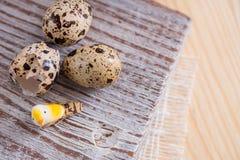 Fondo texturizado de la primavera con los pequeños huevos de codornices Productos de Eco Formato horizontal Fotografía de archivo libre de regalías