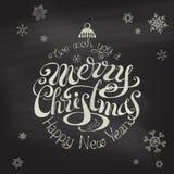Fondo tipográfico de la Feliz Navidad y de la Feliz Año Nuevo Imagenes de archivo