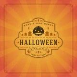 Fondo tipográfico del vector del diseño de la tarjeta de felicitación de Halloween Fotos de archivo