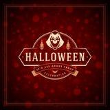 Fondo tipográfico del vector del diseño de la tarjeta de felicitación de Halloween Foto de archivo