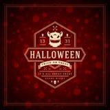 Fondo tipográfico del vector del diseño de la tarjeta de felicitación de Halloween Fotografía de archivo