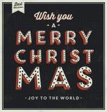 Fondo tipográfico de la Navidad del vintage Imagenes de archivo